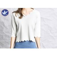China Wavy Edge Womens Knit Pullover Sweater Half Sleeves Short Body Summer Knitwear wholesale