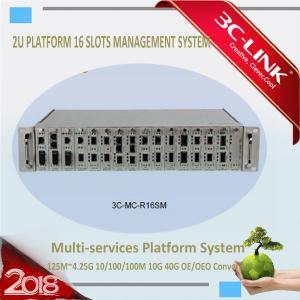 Buy cheap 2U Height 16 Slots Fiber Optic Media Converter Rack Mount Chassis AC 220V DC 48V from wholesalers