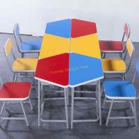 China Durable Amusement Colorful Student Desk And Chair Set / Kids School Table wholesale