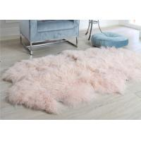 China Pink Curly Hair Extra Large Sheepskin Rug Comfortable Anti Shrink For Home Floor wholesale