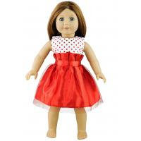 China Red Dot Short Sleeve Puffy Silk Dress for 18 inch  Doll , Madame Alexander Doll Dress on sale