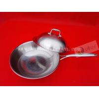 China Stainless steel wok,thickness 2.5mm with cast iron handle wholesale