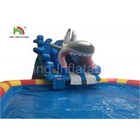 China Grey Megalodon Adult & Kids Inflatable Water Parks With Slide For Outdoor on sale