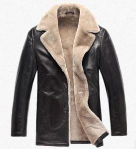 China Long sheep lamb wool fur leather lapel men coat jacket on sale