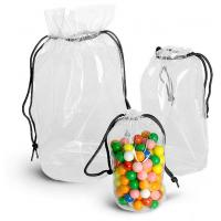 China Transparent PVC Drawstring Bag Frosted Color Round Shaped With Square Bottom wholesale