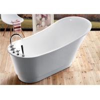 Classic Resin Acrylic Free Standing Bathtub With Faucet Oval Shaped