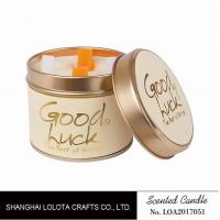 China Really Good Smelling Scented Tin Candles With Round And Top Printing Sticker wholesale