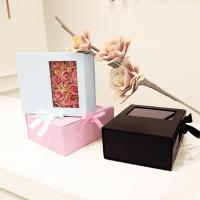 China Card Board Paper PVC Window Folding Packaging Boxes Tie A Bow Ribbon Rose wholesale