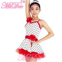 China Lycra Kids Dance Clothes Red White Polka Dot Dance Dress With Flowers Trim on sale
