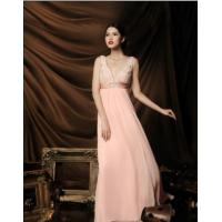 China high-quality silk V-neckline evening dressLA1143 on sale