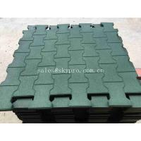 China Driveway Rubber Patio Pavers / Anti - Slip Recycled Rubber Flooring Thickness 15-100mm wholesale