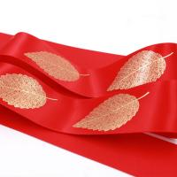 China Various Color Silk Satin Ribbon Golden Leaf Printing With OEM Services wholesale