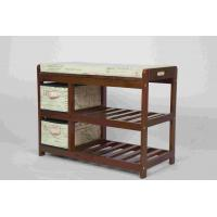 Buy cheap Walnut Classical Modern Wood Furniture Shoe Storage Bench Seat With 2 Fabric from wholesalers