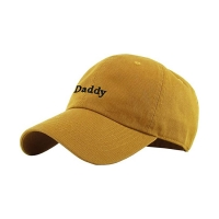 China Yellow Color 6 Panel Curved Visor Daddy Hats For Women wholesale