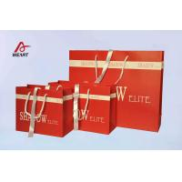 China Red Art Paper Bags / Colored Paper Gift Bags Middle Hole Glued White Ribbon​ wholesale