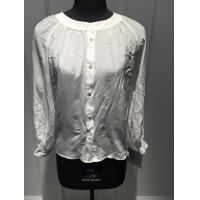 China White Silk Shirt Blouses , Breathable Women Long sleeve crew neck  Blouses on sale