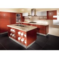 China Red Oak Color Wood Veneer Kitchen Cabinets Stainless Steel Sink And Faucet wholesale