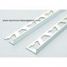 China Flat 8mm Chrome Aluminium Tile Edge Trim / Bathroom Tile Corner Trim wholesale