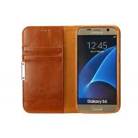Quality Luxury Leather Phone Cases Galaxy S6 Brown With Magnet / Card Pocket for sale
