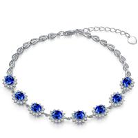 Affordable Gemstone Gold Jewelry Blue Sapphire Bracelet White Gold With Diamonds