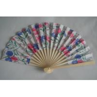 China 21cm Folding Hand Fans / Foldable Fan With Print Silk Fabric wholesale