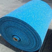China Highly Elastic Rubber Sports Flooring , Sky Blue Gym Flooring Rolls wholesale