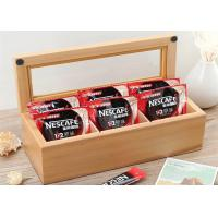 Quality Wood Glass Clear Top Tea Bag Presentation Box  , Coffee Wooden Tea Storage Box for sale