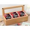 China Wood Glass Clear Top Tea Bag Presentation Box  , Coffee Wooden Tea Storage Box wholesale