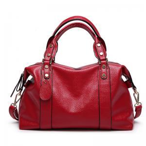 China Red Ladies Real Leather Handbags38*29*13 Cm Adjustable Shoulder Strap on sale