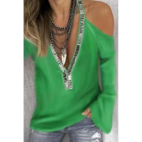 China Strapless Women'S Solid Color Sweater Deep V Neck Long Sleeve Ladies Stylish Tops wholesale