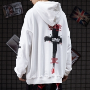 China Abstinence BF Lazy Men Cool Hoodies Cross Print Sweatshirt wholesale