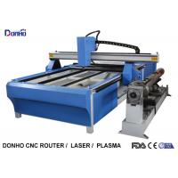 China Blue CNC Plasma Metal Cutting Machine / Industrial Plasma Cutter With Rotary Axis on sale