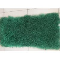 China Dark Green Dyed Mongolian Lambskin Throw Blanket 60 X120cm Soft With Long Hair on sale