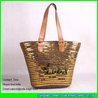 China LUDA fashion lady wheat straw handbags golden sequins straw bags on sale
