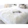 China 120*180cm Long Wool Real Mongolian Fur Fabric , White Sheepskin Rug For Nursery  wholesale