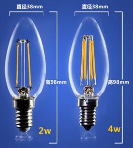 China 4W 6W C35 E14 Edison COG lamp LED Filament Bulb Candelabra Light replace traditional bulbs wholesale