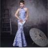 China Slim Halter Satin mermaid cheongsam wedding dress with high collar wholesale
