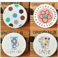 China 2014 Creative new ceramic inlay cork coaster absorbent non-slip  scratch mat and pad Home decoration wholesale