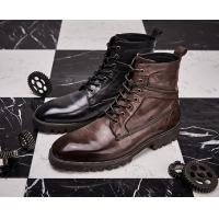 China Autumn Brand Mens White Leather Boots Breathable Mens High Top Casual Shoes wholesale
