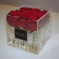 China best selling plexiglass display box with cover royal rose acryl clear flower packaging box with logo on sale