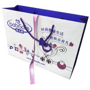 China Retail Custom Shopping Bags , Monogram Paper Bags Ribbon Wrapped White on sale