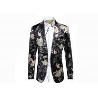 Buy cheap Autumn / Winter Mens Floral Print Blazer Notch Lapel Back Vent 100% Polyester from wholesalers
