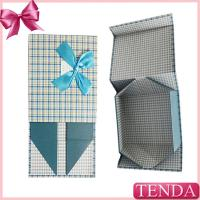 China Customized Handmade Paper Board Rigid Collapsible Folded Foldable Folding Gift Boxes with Ribbon Bowtie on sale