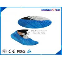 China BM-7024 Good Qulaity Hospital Use Disposable SPP Non-woven CPE Material Blue Color Shoe Cover with Anti-skid Printing wholesale