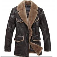 Quality Sheep Skin Lamb Collar Jacket - Genuine Leather Coat for sale