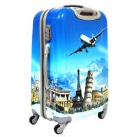 China Suitcase 4 Wheels ABS PC Pretty Trolley Luggage Set Waterproof Travel Bag Photo Printing wholesale