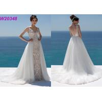 China Lace And Sequinned V Neckline Mermaid Style Wedding Dress Detachable Over Skirt wholesale