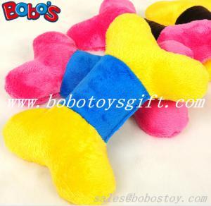 China 2 color softest plush stuffed bone pet dog toy with squeaker wholesale