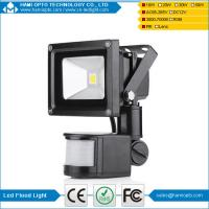China High Lumen Outdoor Widely Used 10W LED Flood Light PIR AC85-265V CE RoHS Black housing wholesale