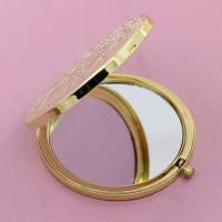 China Ladies Desktop Pocket Make Up Mirror Laser Engraved , Magnifying Compact Mirror on sale